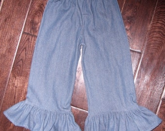 Boutique Denium Rhumba Ruffle Pant or Capri Sizes 3M to 5T Larger size please inquire for Special Listing
