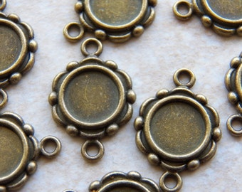 23X15mm Antique Bronze Cameo Frame Pendant Setting Connectors for 10mm Cameos - Stones, 10 PC (INDOC2174)