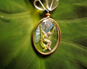The Garden Fairy, Art Nouveau, Glass Pendant, necklace, Swarovski crystals, hand painted, Fae, moss, garden, jewelry