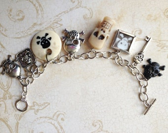 Halloween Mixed Media Altered Art  Skulls Pirates Poison Inspired Steampunk Charm Bracelet Jewelry