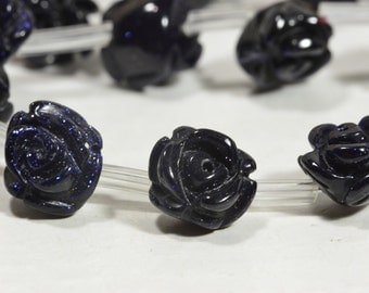Goldstone 10mm 6 Beads Royal Blue Carved Rose Bead Gemstone Bead Carved Bead Rose Bead Jewelry Making Supplies