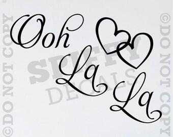 Ooh La La Paris French Fancy Hearts Vinyl Wall Decal Sticker Decor