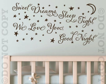 Sweet Dreams Sleep Tonight We Love You Good Night Removable Wall Decal Sticker Decor