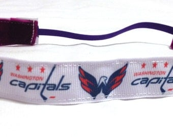 NOODLE HUGGER Non slip ribbon headband - Washington Capitals - 7/8 inch (running, working out, everyday: women and girls)