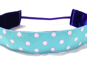 NOODLE HUGGER Non slip ribbon headband - pink dots on light blue - 1.5 inch (running, working out, everyday: women and girls)