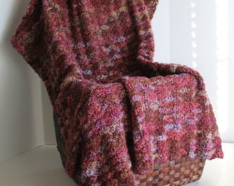 Handmade Afghan - Shell Pattern Lapaghan - Autumn tones - Purples, Greens, Browns, and Blues