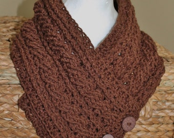SALE - Womens Brown Cables & Button Neckwarmer/ Infinity Scarf/ Cowl