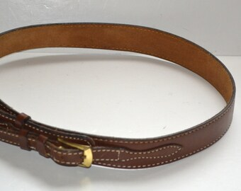 Vintage 80s Tony Lama  brown   leather double strap buckle belt Unisex size 38  Made in USA