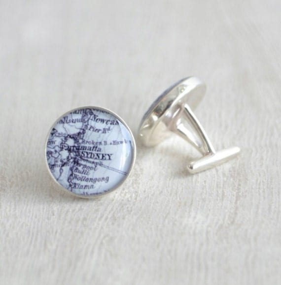 Sterling Silver Custom Vintage Map Cufflinks - mens cufflink accessories made by hand in the USA