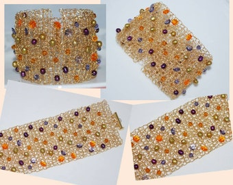 Crocheted Wire Beaded Cuff Bracelet, Crochet Wire Bracelet, Freshwater Pearl Wire Cuff, Crochet Wire Jewelry, Multicolor