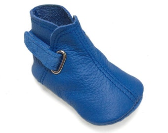 Lambswool lined soft soled leather baby shoes.  Blue baby boy boots. Booties, indoor shoes, crib shoes, slippers