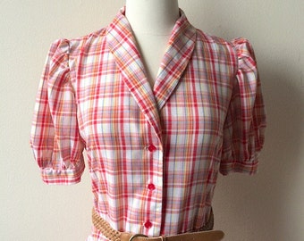 Vintage Plaid Puff Sleeve Farmer's Daughter Dress