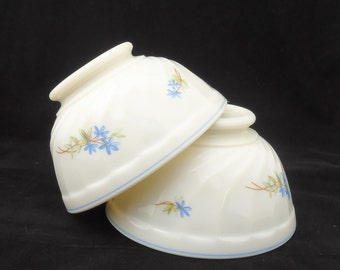 Vintage Arcopal Bowls, French Vintage Arcopal White Glass cafe au lait bowl, Swirl bowl with Blue Flower, UK Seller