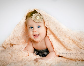 peach pink chiffon roette fabric, Chic rosette fabric, shabby rosette fabric, Bridal fabric