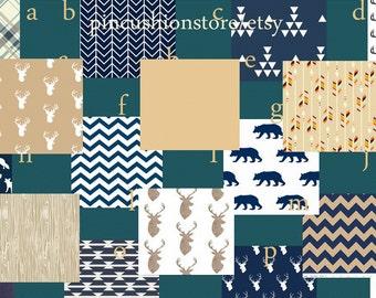 Grey White Premium Baby Bedding Crib Set Modern Woodgrain Arrows Navy Tan Set / 4 piece set