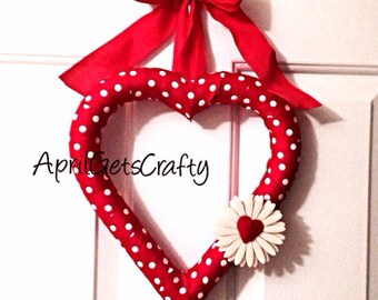 Valentine's Day Heart Wreath, Red Heart Wreath. Polka Dot Decor, Valentine