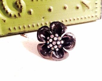 Gunmetal Flower Ring Silver Statement Rhinestone Pearl Cluster Adjustable Cocktail Ring Wedding Jewelry Bridesmaid Gift