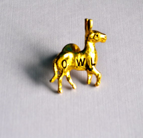 Vintage Donkey Lapel/Pin, Gold Tone, Black Enamel Letters, Animal Figural, Estate Sale, Item No. B596