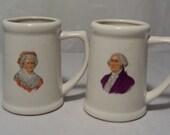 Vintage George & Martha Washington Souvenir Mugs Mt. Vernon, VA July 4