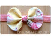SN Bow Headband: Pink/Lemon floral