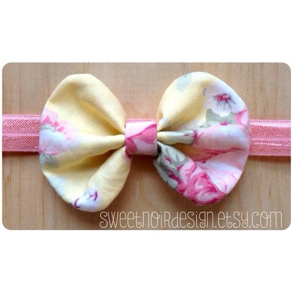SN Bow Headband: Pink/Lemon floral