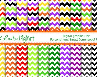 20 Digital Halloween Papers - Chevrons for Personal Use and Small Commercial Use H044