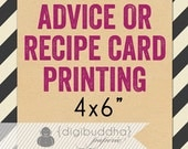 """RECIPE CARD PRINTING or Advice Card Printing for any digibuddha Recipe or Advice design. Card Stock 4x6"""" Bridal Kitchen Wedding Baby Shower"""