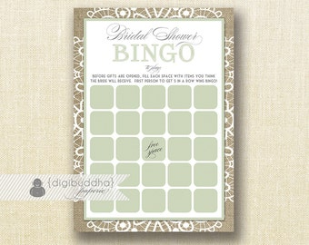"""Sage Green Lace Bridal Shower Bingo INSTANT DOWNLOAD 5x7"""" Shabby Chic Clover Burlap Bridal Shower Game Card DIY Printable or Printed- Jackie"""
