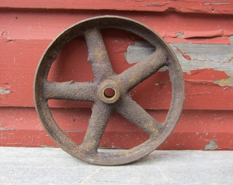 Antique Iron Wheel Industrial Cart Wheel Old Aged Rust Patina Machinery Machine Age Farm Equipment Old Factory Industrial Decor Rusty Metal