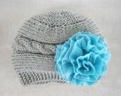 Knit  Baby Hat, Baby Girl Hat, Newborn Beanie, Baby Newborn Hat, Baby Girl Beanie, Grey Pink, Newborn Baby Hat, Knit  Hat, Newborn Prop