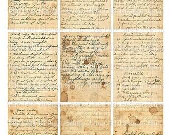 ATC Backgrounds Vintage Handwritten Recipe Cards Printable Digital Collage Sheet