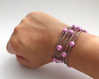 Pink Flexi Bracelet - Cerise Beads - Bright Pink - with Heather Mauve - Contemporary Memory Wire Bangle