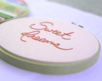 Pink hoop art / made to order / sweet dreams / baby girl room decor / hand embroidered baby gift