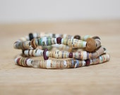 Boho Paper Bead Bracelet, Made With Recycled Book Pages, Eco Friendly Jewelry, Book Lover