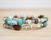Teal Bracelet Set, Recycled Paper Bead Jewelry, Made From Damaged Book Pages, Nerdy Gift, Book Lover, Eco Friendly Jewelry