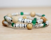 Charlie Brown Recycled Brown Paper Bead Bracelet Set Made From Charlie Brown Book Pages, Earthy Bracelet Set, Organic Bracelet