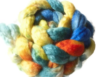 """SW BFL Wool And Mohair Roving - Handpainted Spinning - """"Pippi Longstocking"""""""