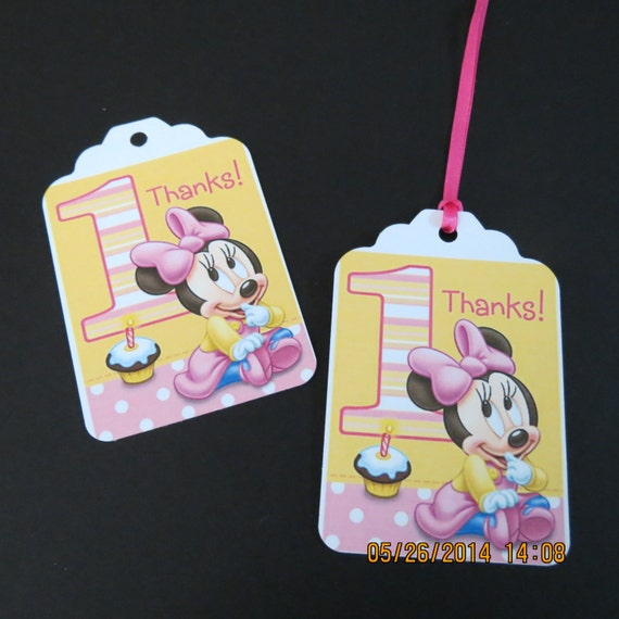 Baby Gifts For Birthday : Baby minnie st birthday favor gift tags