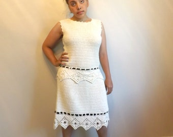 Details, Details/Vintage Hand Crocheted Dress/Size 8 Vintage Knit Dress/Ships free w/ coupon code