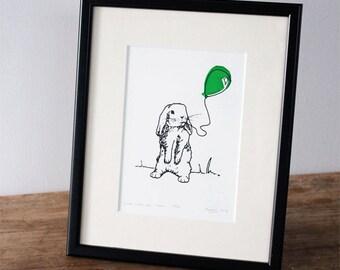Bunny and balloon, green - Ltd edition Gocco Print