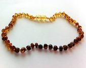 """GENUINE Baltic Amber Baby Teething Necklace - Ombre Lemon, Honey, Cognac, & Cherry Baltic Amber Beads- (13"""") - SHIPS FREE with another item"""