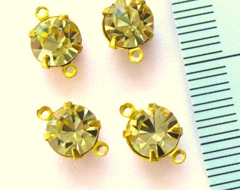 Jonquil crystal connectors two-ring 6 pieces-high quality jewelry supplies findings components Swarovski crystal in brass prong settings