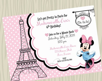 Minnie Mouse in Paris Birthday Invite