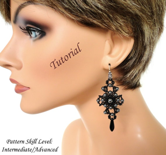 DRAGON's SCALE beaded earrings beading tutorials and patterns seed bead beadwork jewelry beadweaving tutorials beading pattern instructions
