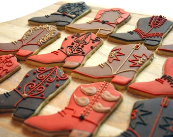 Custom Cowboy Boot Sugar Cookies (Set of Six)