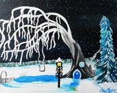 frozen fairy house painting 8x10, fantasy winter, winter wonderland, frozen tree, tree art, snowy fairy tree
