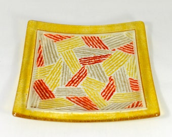 Autumn Geometric Fused Glass Plate