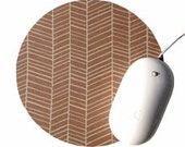 Herringbone Mouse Pad / Chevron Timber Brown Tan and White / Round Mousepad / Office Home Decor
