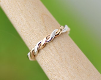 Flattened Twist Ring, Stacker Ring, Thumb Ring, Gold Filled Stackable Ring, Stacking Rings, Two Toned Ring, Stacked Ring, Stack Ring
