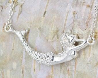 Mermaid Necklace - Sterling Mermaid - Mermaid Jewelry - Silver Necklace - Sterling Necklace - Mermaid Chain, Gift For Her